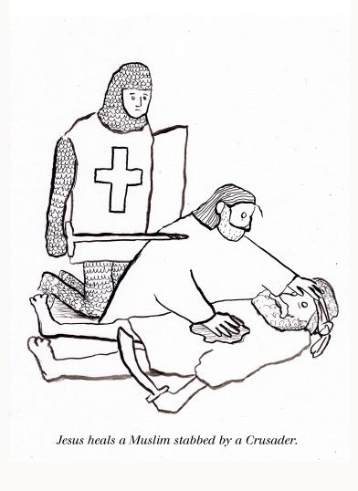 Jesus heals a Muslim stabbed by a Crusader