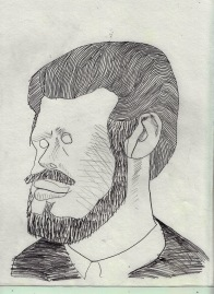 drawing of a drawing of Hollis Frampton, 2016
