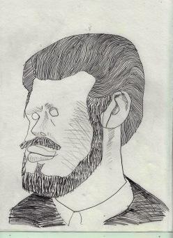 drawing of a drawing of Hollis Frampton, 2016