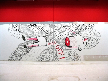 Abandoned Target mural project in Kingsway Mall Edmonton.