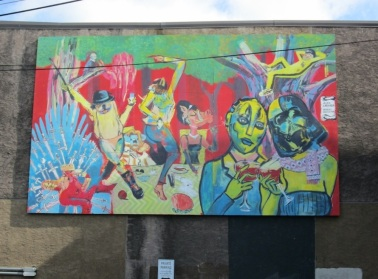 Nextfest 2014 Mural on the Roxy Theatre in Edmonton, AB (co-artist with Alex Labarda)