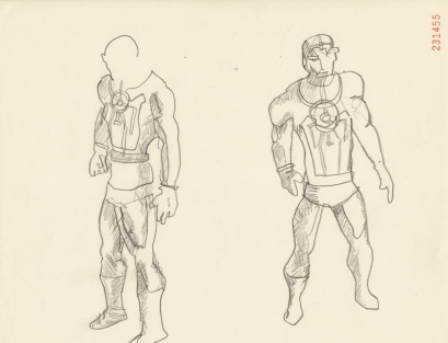 Drawing of Metron action figure