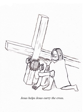 Jesus helps Jesus carry the cross