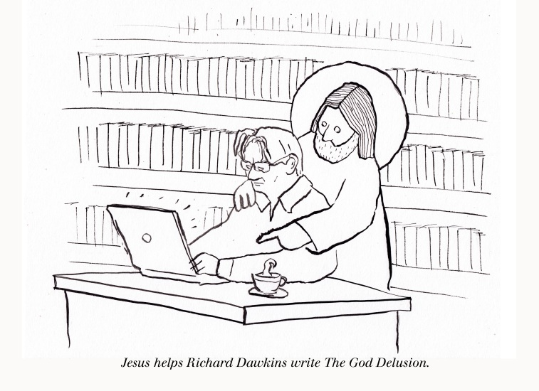 Jesus helps Richard Dawkings write The God Delusion