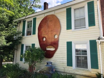 Stain on wood 11x7' tall painting installed at Salem Art Works in Salem NY. 2018. Photo credit Benj Gleeksman / Salem Art Works.